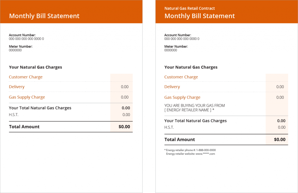 2 Natural Gas bills. (Left) Bill provided when purchased from the utility, (Right) Bill provided by an energy broker/retailer.